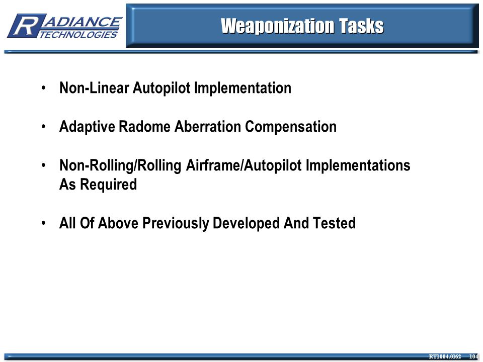 Weaponization Tasks Non-Linear Autopilot Implementation