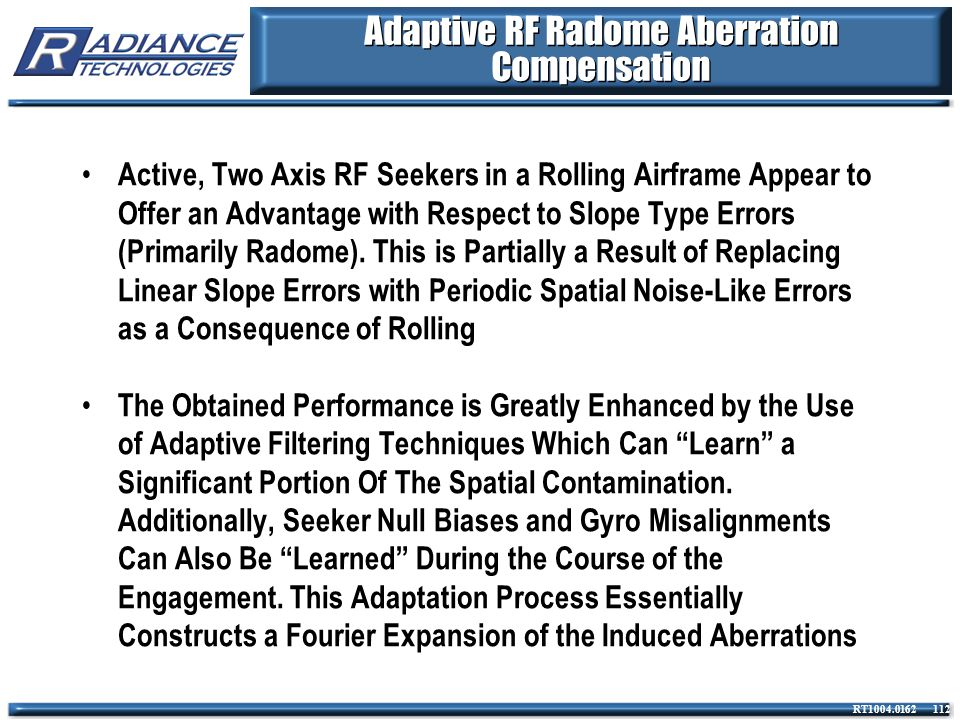 Adaptive RF Radome Aberration Compensation