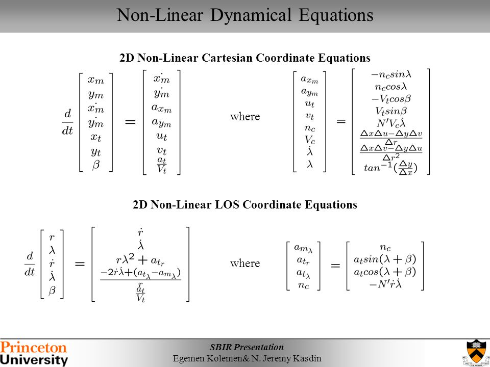 Non-Linear Dynamical Equations