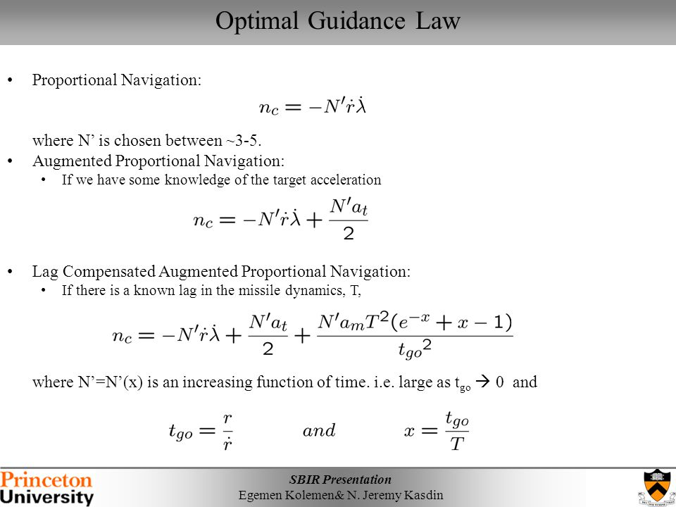 Optimal Guidance Law Proportional Navigation: