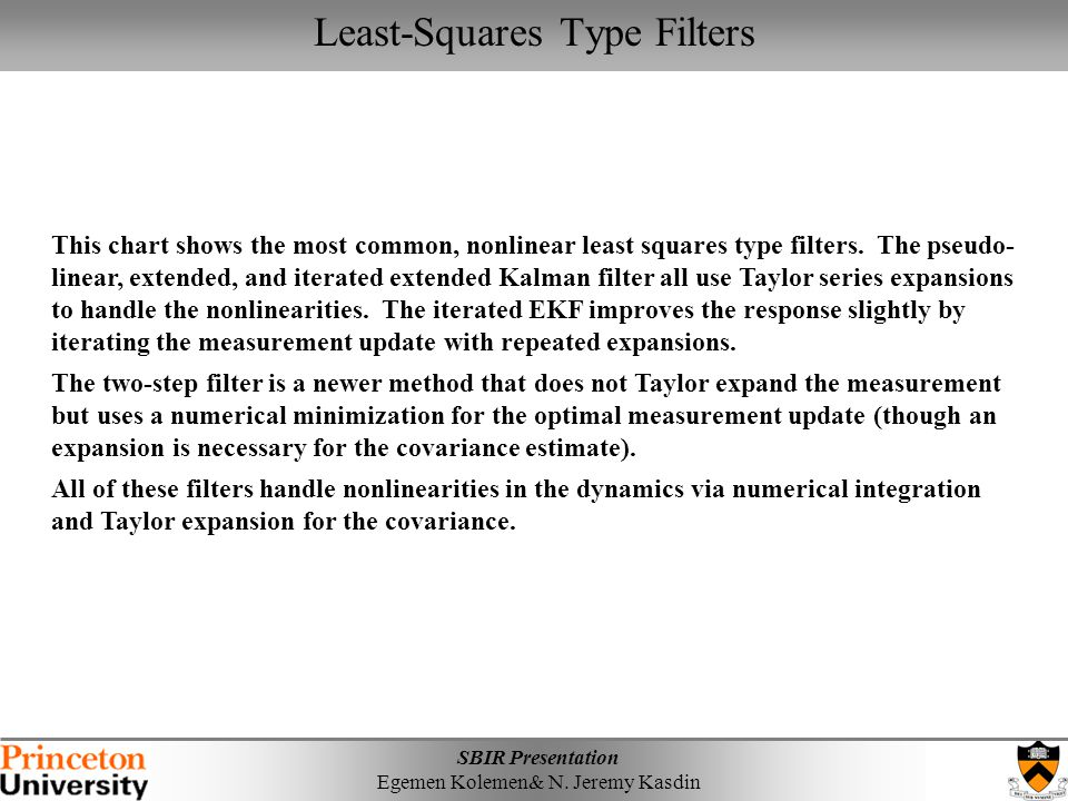 Least-Squares Type Filters