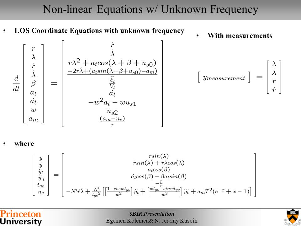 Non-linear Equations w/ Unknown Frequency