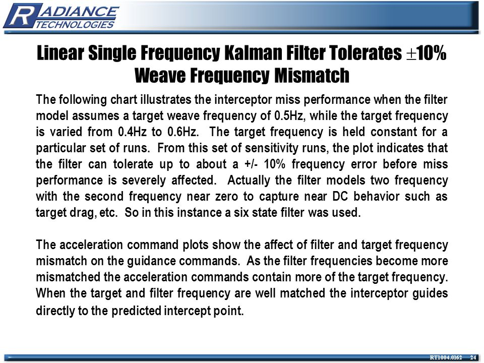 Linear Single Frequency Kalman Filter Tolerates 10% Weave Frequency Mismatch