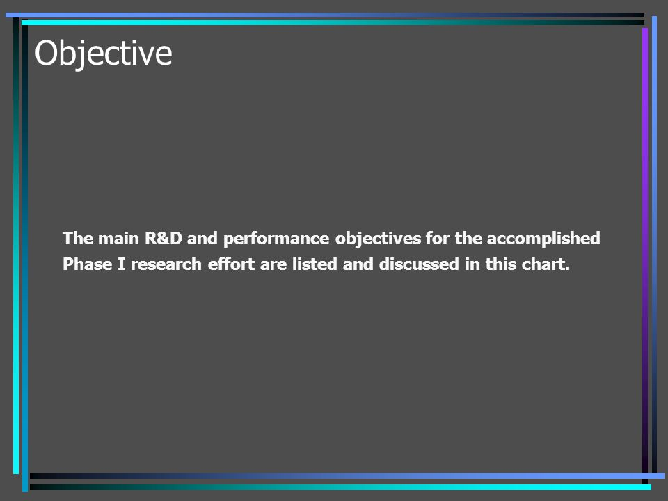 Objective The main R&D and performance objectives for the accomplished