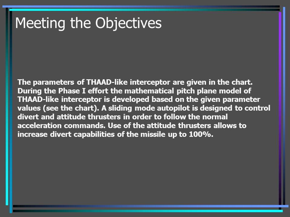 Meeting the Objectives