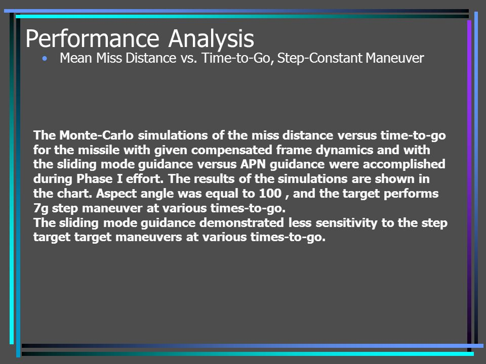Performance Analysis Mean Miss Distance vs. Time-to-Go, Step-Constant Maneuver.