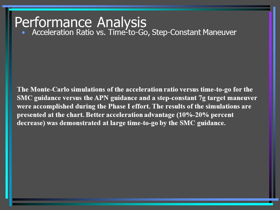 Performance Analysis Acceleration Ratio vs. Time-to-Go, Step-Constant Maneuver.