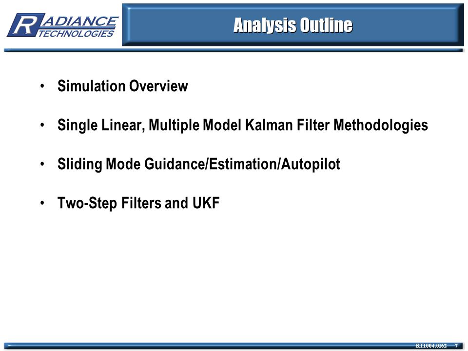 Analysis Outline Simulation Overview