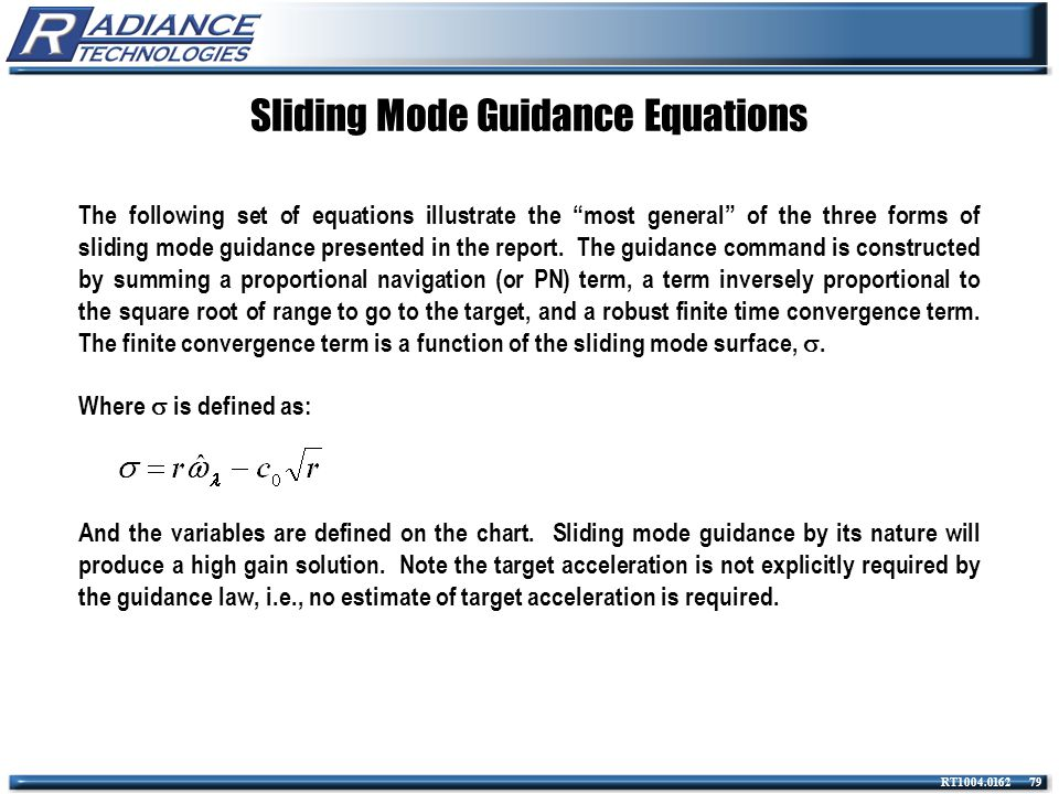 Sliding Mode Guidance Equations