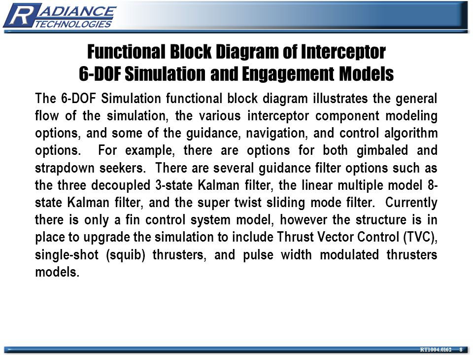 Functional Block Diagram of Interceptor 6-DOF Simulation and Engagement Models