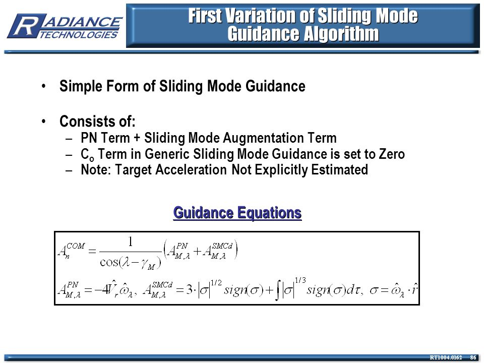 First Variation of Sliding Mode Guidance Algorithm