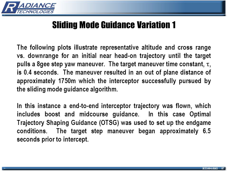 Sliding Mode Guidance Variation 1