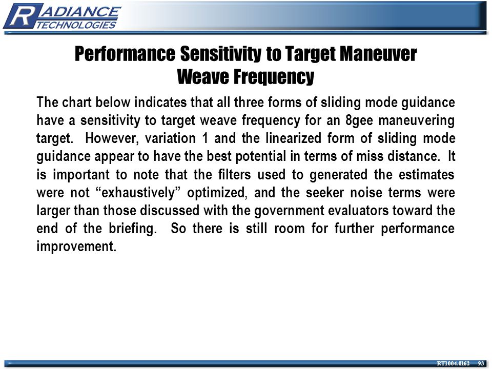 Performance Sensitivity to Target Maneuver Weave Frequency