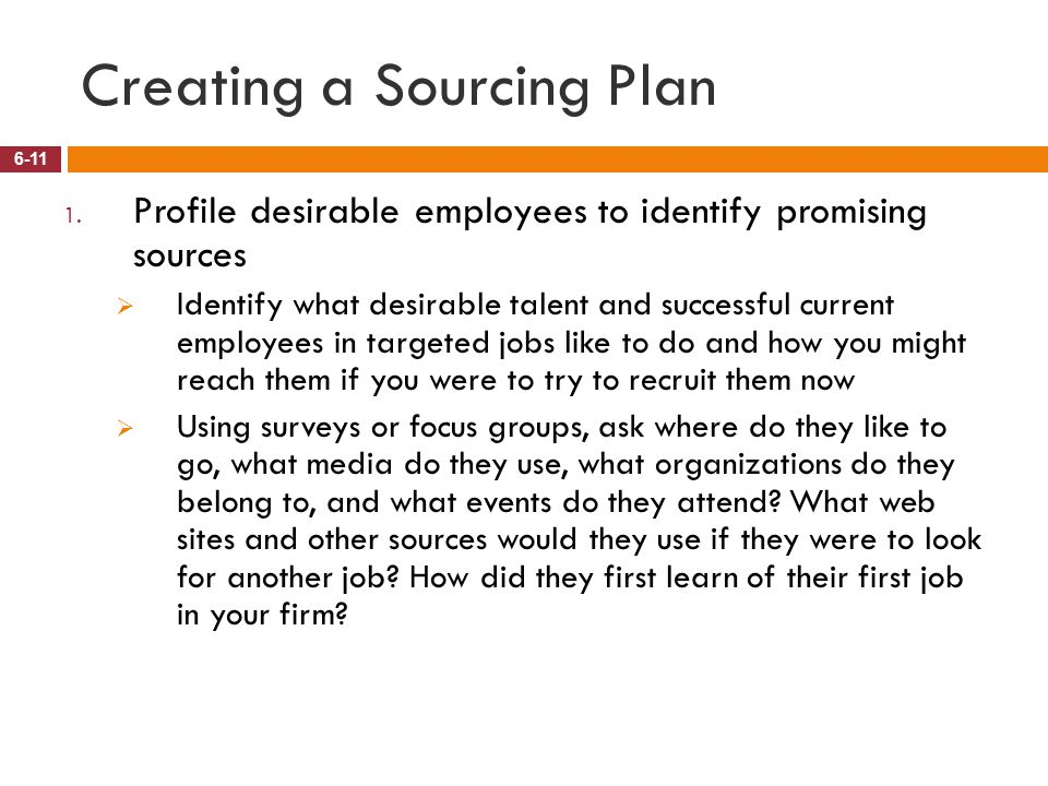 Creating a Sourcing Plan