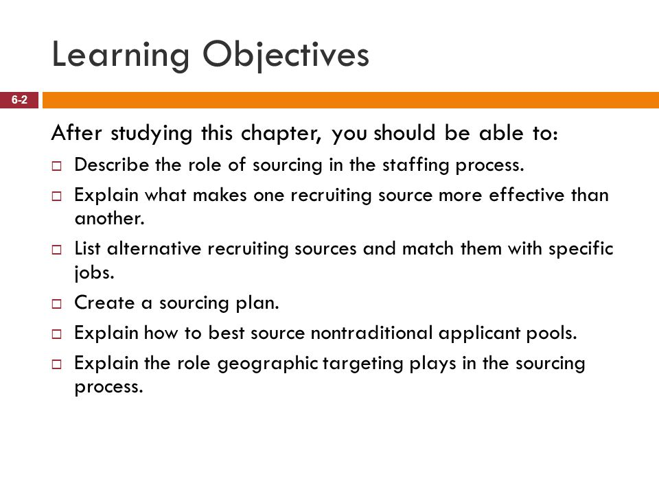 Learning Objectives After studying this chapter, you should be able to: Describe the role of sourcing in the staffing process.