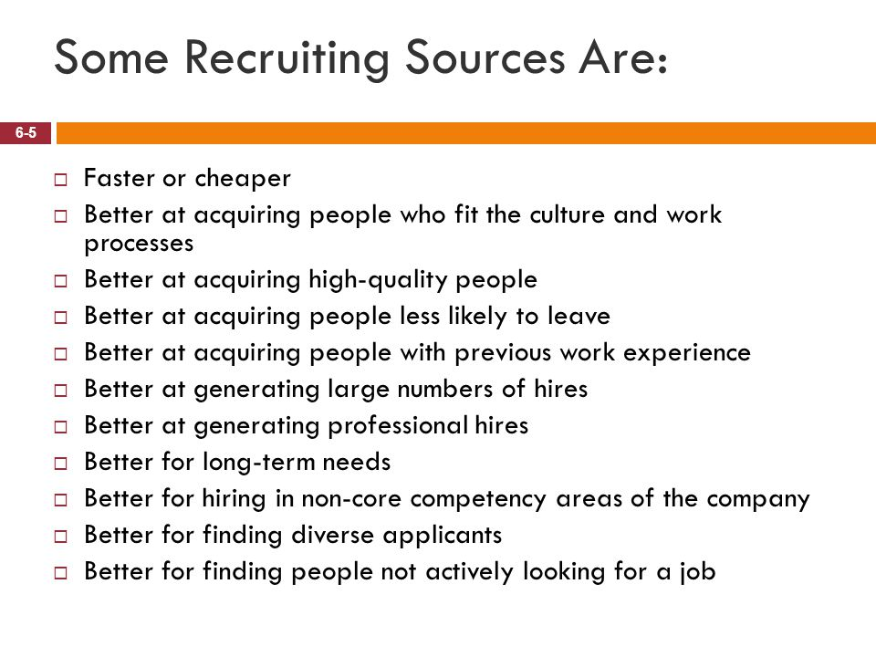 Some Recruiting Sources Are: