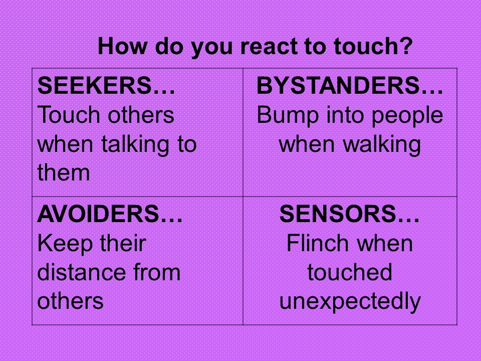 How do you react to touch SEEKERS… Touch others when talking to them
