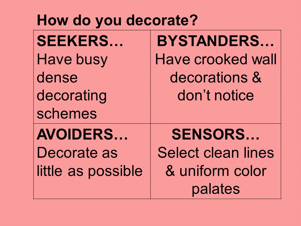 Have busy dense decorating schemes BYSTANDERS…