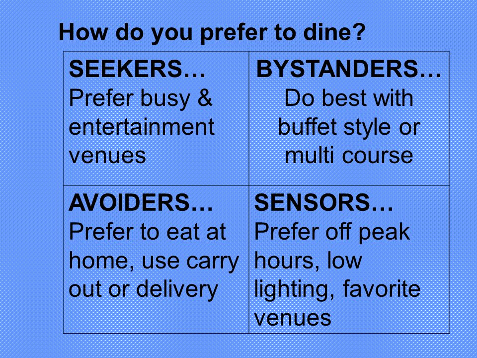 Do best with buffet style or multi course