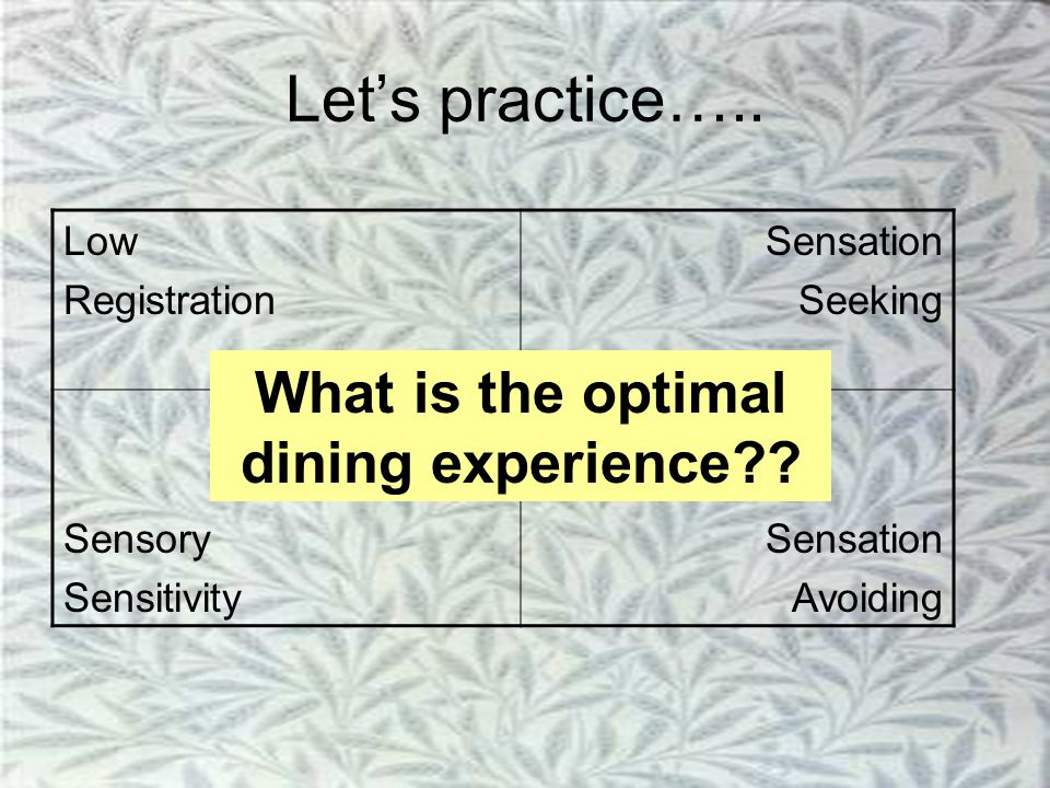 Let's practice….. What is the optimal dining experience Low