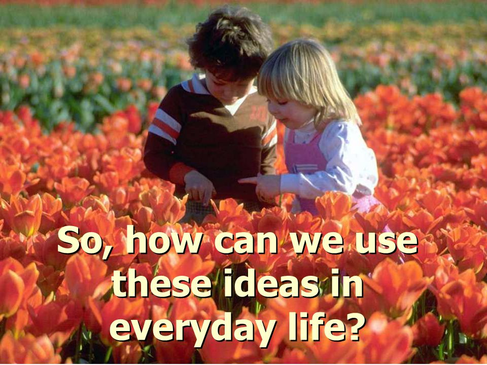 So, how can we use these ideas in everyday life