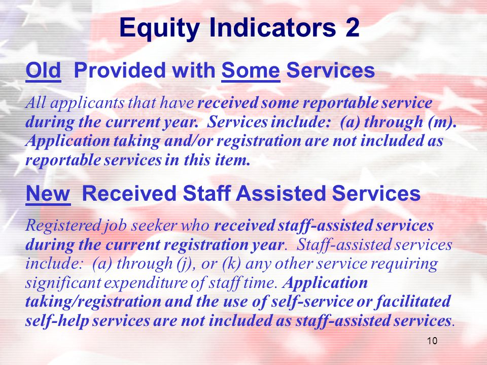 Equity Indicators 2 Old Provided with Some Services