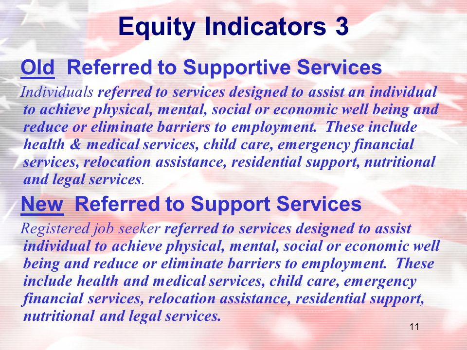 Equity Indicators 3 Old Referred to Supportive Services