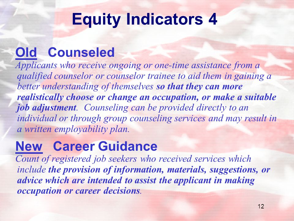 Equity Indicators 4 Old Counseled New Career Guidance