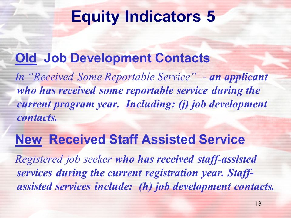 Equity Indicators 5 Old Job Development Contacts