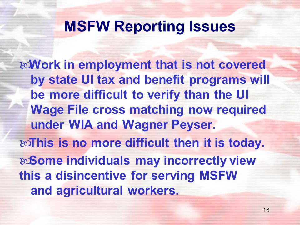 MSFW Reporting Issues