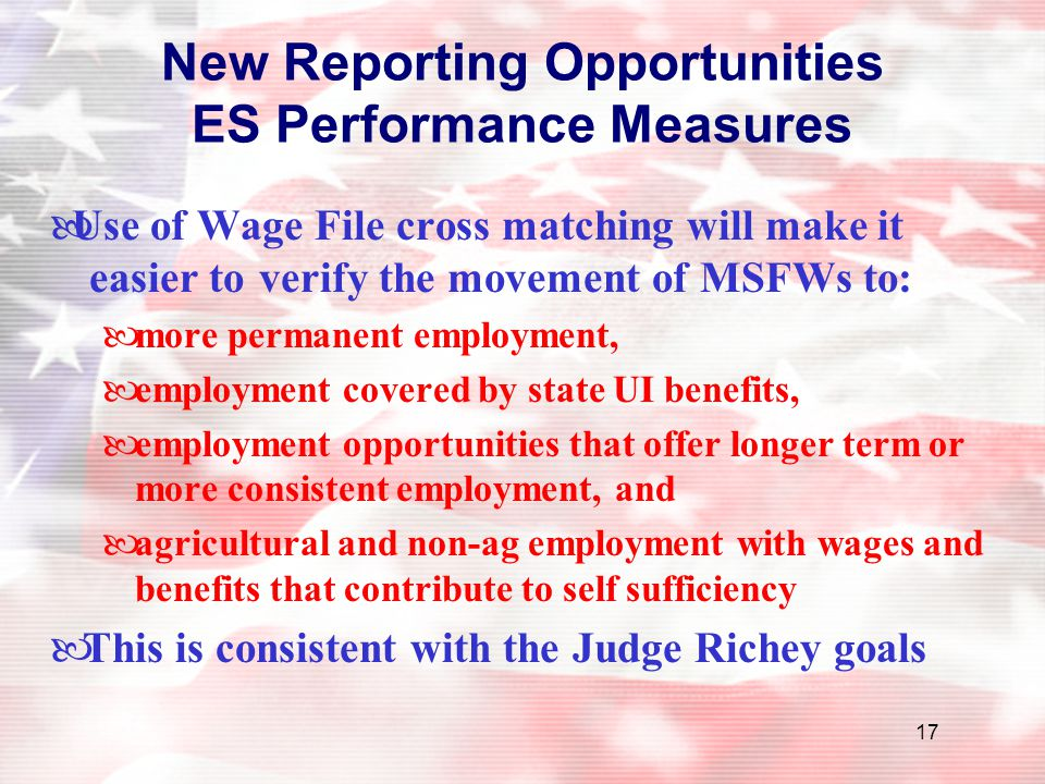 New Reporting Opportunities ES Performance Measures