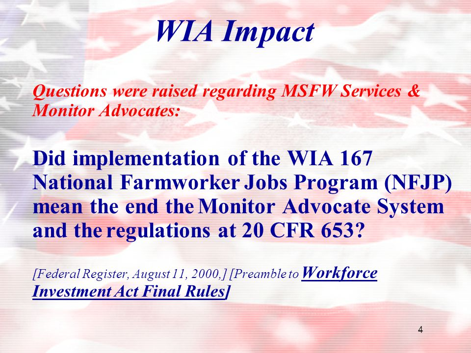 WIA Impact Questions were raised regarding MSFW Services & Monitor Advocates: