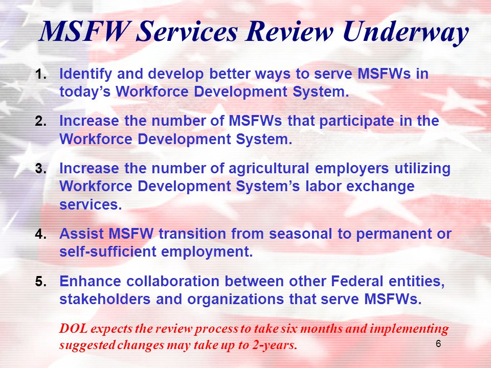 MSFW Services Review Underway