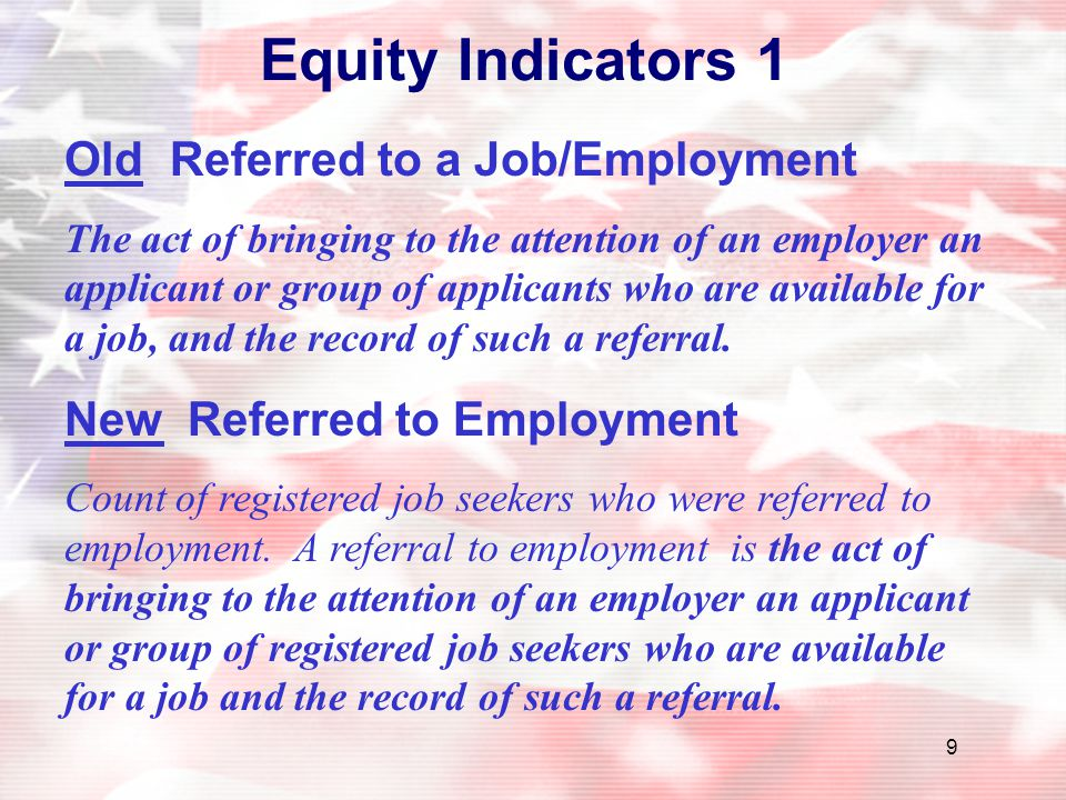 Equity Indicators 1 Old Referred to a Job/Employment