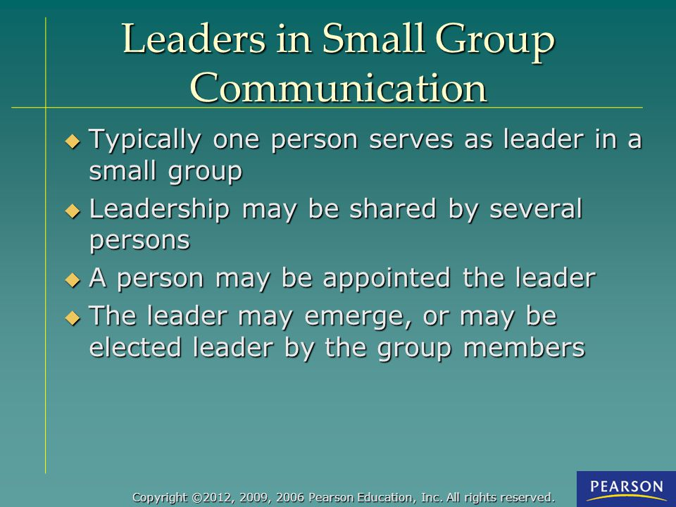 Leaders in Small Group Communication