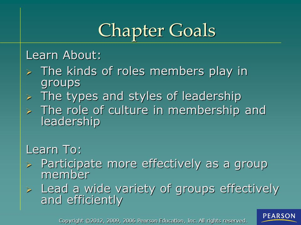 Chapter Goals Learn About: The kinds of roles members play in groups