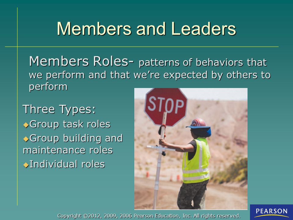 Members and Leaders Members Roles- patterns of behaviors that we perform and that we're expected by others to perform.