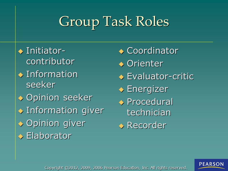 Group Task Roles Initiator-contributor Information seeker