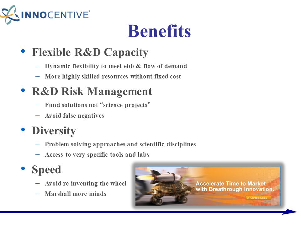 Benefits Flexible R&D Capacity R&D Risk Management Diversity Speed