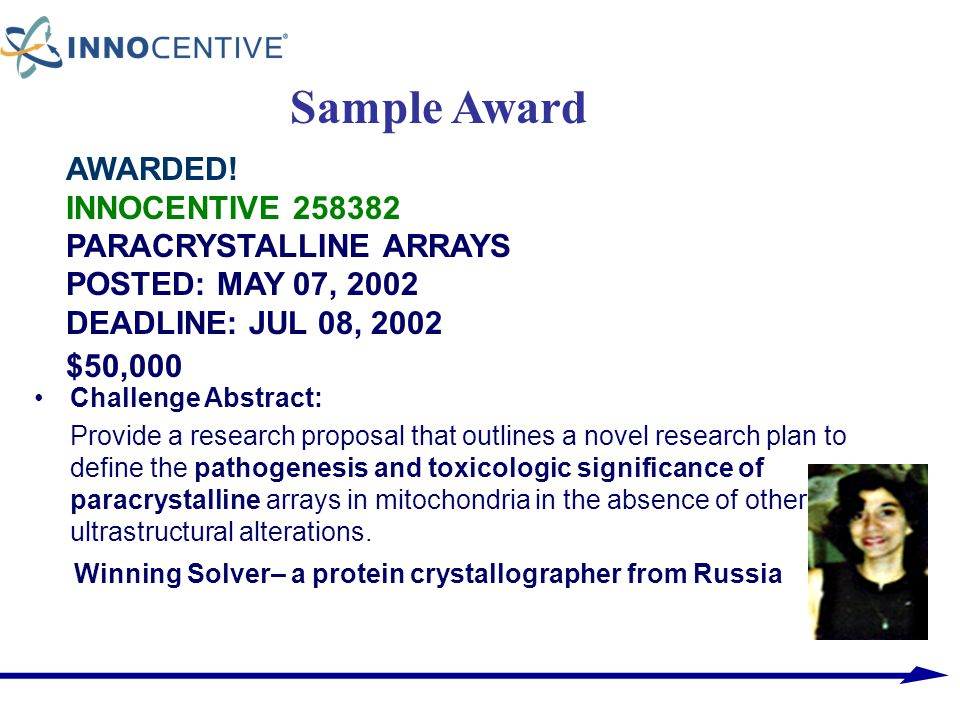 Sample Award AWARDED! INNOCENTIVE 258382 PARACRYSTALLINE ARRAYS POSTED: MAY 07, 2002 DEADLINE: JUL 08, 2002 $50,000.