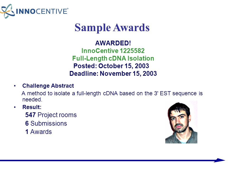 Sample Awards AWARDED! InnoCentive 1225582 Full-Length cDNA Isolation Posted: October 15, 2003 Deadline: November 15, 2003.