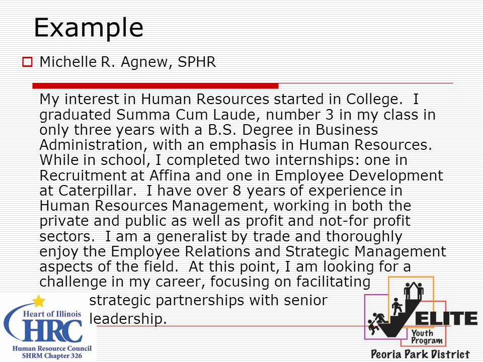 Example Michelle R. Agnew, SPHR