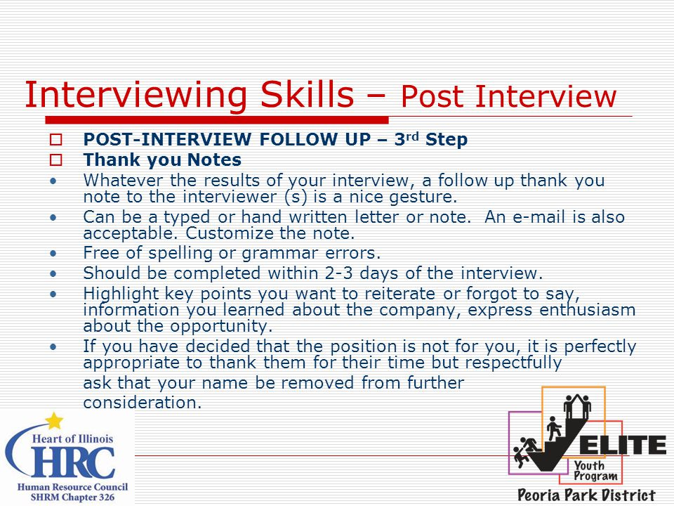 Interviewing Skills – Post Interview