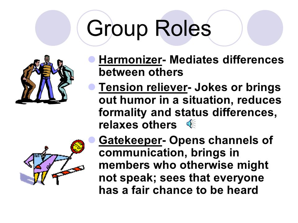 Group Roles Harmonizer- Mediates differences between others