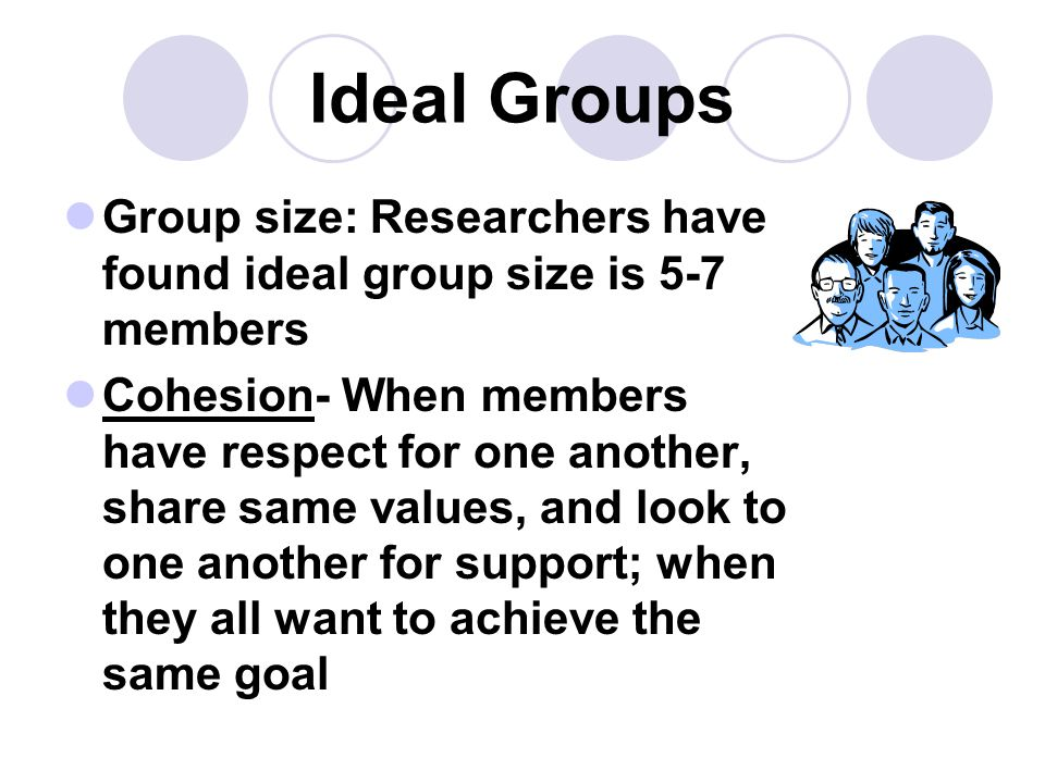 Ideal Groups Group size: Researchers have found ideal group size is 5-7 members.