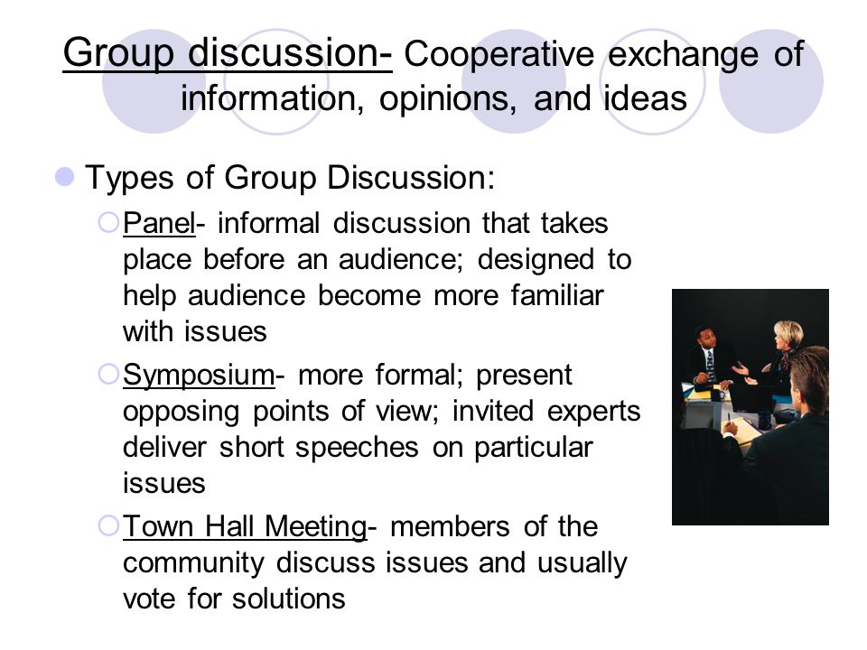 Group discussion- Cooperative exchange of information, opinions, and ideas