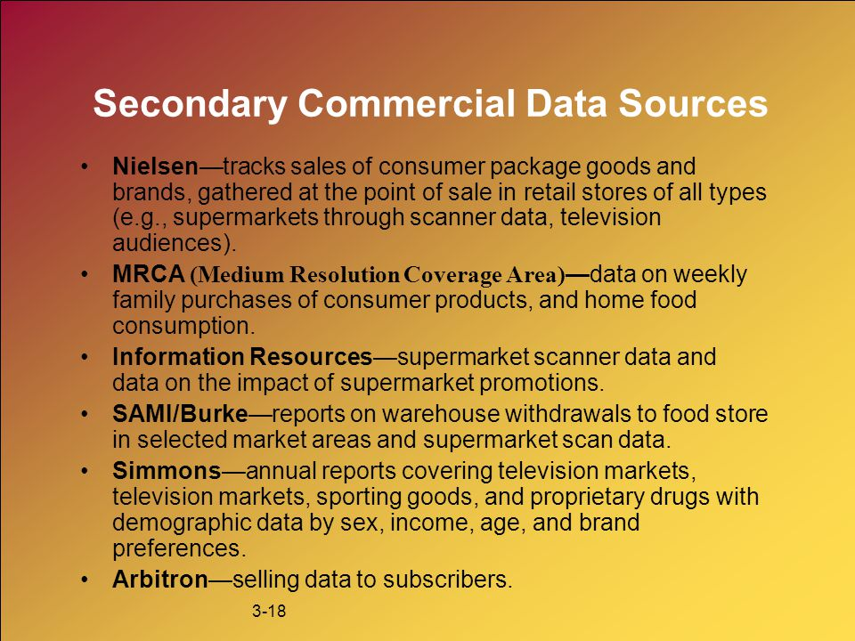 Secondary Commercial Data Sources