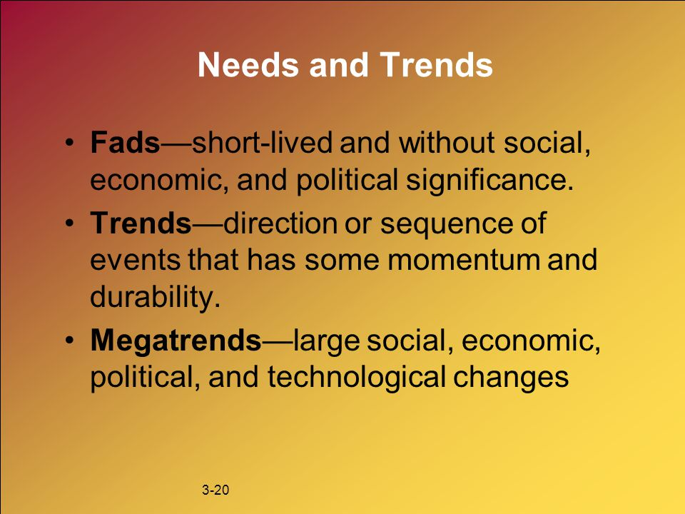 Needs and Trends Fads—short-lived and without social, economic, and political significance.