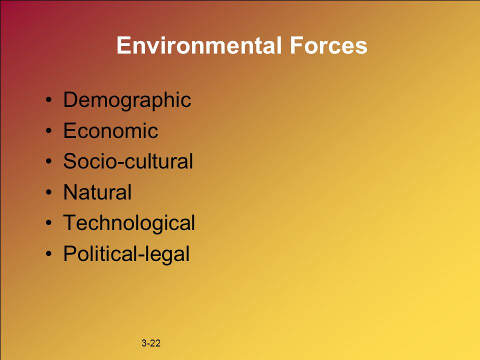 Environmental Forces Demographic Economic Socio-cultural Natural