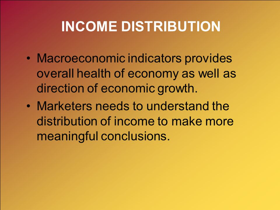 INCOME DISTRIBUTION Macroeconomic indicators provides overall health of economy as well as direction of economic growth.
